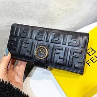 Fendi New fashion more letter leather wallet purse Black