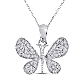 10k White Gold Round Diamond Butterfly Bug Wings Pendant 1/3 Cttw
