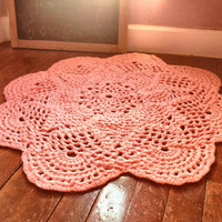 """Large 39"""" Thick and Soft Crochet Round Sunshine Doily Rug MORE COLORS (shown in Cotton Candy Pink) Made to Order Soft for Baby Nusery"""