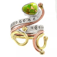 Green Copper Turquoise Three Tone Sterling Silver Fanciful Ring
