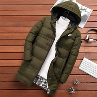 NIKE 2018 new down cotton padded long men's hooded coat cotton coat Green