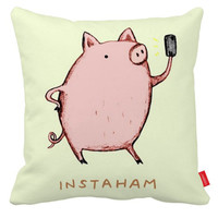 Cute Pig Pillow Cover Yellow Accent Pillows Pillow Case Cushion Cover 18x18