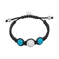 North Carolina Tar Heels Crystal Ball & Sterling Silver Team Logo Slipknot Bracelet (Blue)