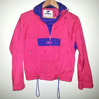 Vintage WINDBREAKER Pink and Purple Jacket Zip Up Button up Pouch in Front Vent in Back Velcro on Sleeves and Ties at Bottom Size Small