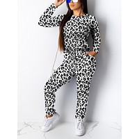 Exclusive White Round Neck Leopard Printed Sweat Suit Womens Clothes