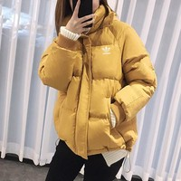 """Adidas"" Women Simple Solid Color Fashion Long Sleeve Hoodie Cotton-padded Clothes Coat"