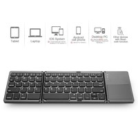 Folding Bluetooth Keyboard, Jelly Comb Rechargeable Portable BT Wireless Foldable Mini Keyboard with Touchpad for Travel iPhone 6 6s 7 Samsung and other Devices