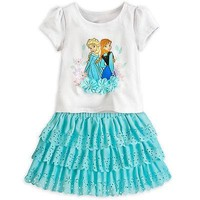 Licensed cool NEW Disney Store Frozen Princess ANNA ELSA Blouse Top & Skort 2PC Skirt Set