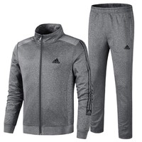 ADIDAS winter thick men's plus velvet cotton sportswear two-piece Grey