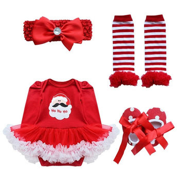 4PCS Baby Newborn Girls Christmas Party Romper Dress Outfits = 1945716548