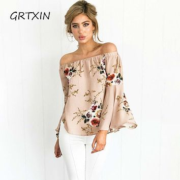 Summer Casual Blouse Loose Sexy Women Off Shoulder Tops Long Sleeve Shirt Flower Print Blouse Tops