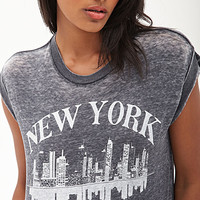 FOREVER 21 City Of Dreams Tee Charcoal/White