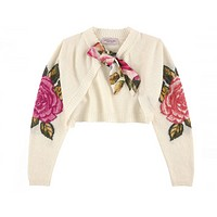 Monnalisa - Girl Soft Wool Bolero With Roses Print - 12Y