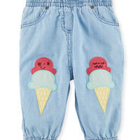 Stella McCartney Kids Pipkin Chambray Pants w/ Ice Cream Cone Patches, Size 6-36 Months