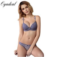 Oyadeal Lady Sexy Lace Embroidery Push Up Thicker Bra Sets Bra And Panty Lace Embroidery Women lingerie Underwear Bra Set
