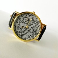 Vintage Lace Watch , Vintage Style Leather Watch, Women Watches, Boyfriend Watch, Black Lace Print, Black