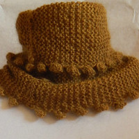 Brown/gold Cowl Scarf hand knit using soft fuzzy brown/gold yarn