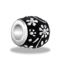 DaVinci Beads Black With Silver Daisies Jewelry