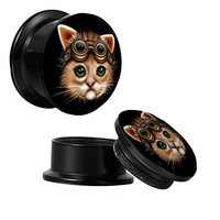 Plugs 0G Steampunk Cat Screw Fit Plugs (8mm) - 2 pieces