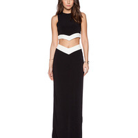 Contrast Color Sleeveless Bodycon Cropped Top Maxi Skirt Set