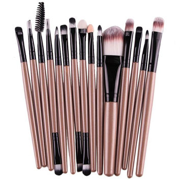 2017 Professional Makeup Brushes Set 15pcs High quality Foundation Eyebrow Lip Brush Make up Tools Kit Gold