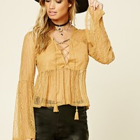 Lace-Up Babydoll Top