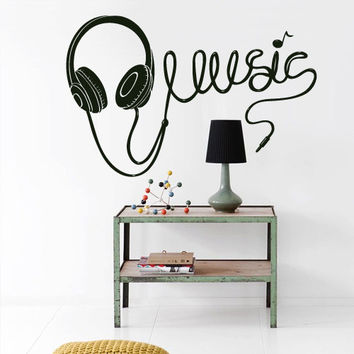 Wall Vinyl Sticker Decals Decor Bedroom Art Audio Headphones Cord  Music Sign Quote Notes Note (z2727