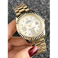 "Hot Sale ""Rolex"" Stylish Women Men Chic Diamond Business Movement Watch Couple Wristwatch Golden"