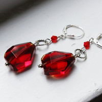 Harry Potter Sorcerer's Stone Earrings - Red Crystal Nuggets with Red Swarovski Crystals and Silver Rings on Silver Lever Earring Hooks