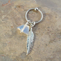 Rainbow Moonstone Cartilage CBR Hoop Silver Feather Earring Belly Button Jewelry