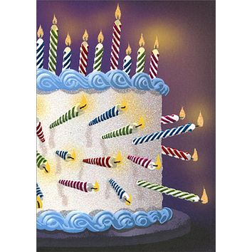 Birthday Greeting Card  - Cake Full of Candles