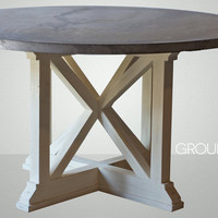 """54"""" Round Zinc Table with Reclaimed Wood X Base"""