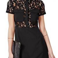 Black Double Pocket Lace Mini Dress