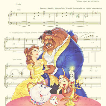 Beauty and the Beast Be Our Guest Sheet Music Art Print