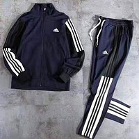 Adidas Fashion Women Men Casual Print Sweater Coat Pants Trousers Set Two-Piece Sportswear