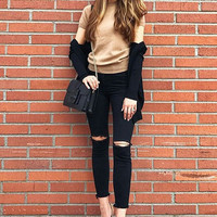 2104 New 2017 Fashion Cotton Denim Pants Stretch Womens Ripped Knee Skinny Jeans Black Ankle Jeans For Female