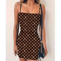 Louis Vuitton LV Summer Hot Sale Women Sexy Print Sleeveless Dress