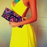 Yellow Halter Backless Mini Dress