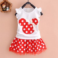 Puseky Princesa 2 PCS Cute Kids Baby Girls Clothes Minions Minnie Party Dress Vest Skirt Toddler Baby Girls Clothes Set 1-6Y