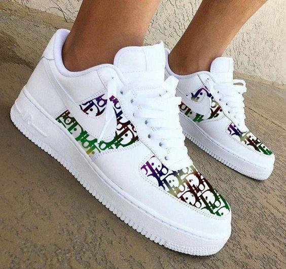 Image of Nike Air Force 1 Print Contrast Shoes Women Men Trending Shoes White+Colorful Print