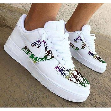 Onewel Nike Air Force 1 x Dior Print Contrast Shoes Women Men Trending Shoes White+Colorful Print