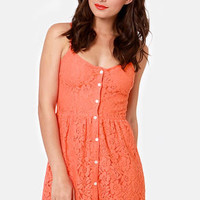 Volcom Not So Classic Coral Orange Lace Dress