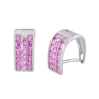 Leverback Earrings 3 Row CZ Cubic Zirconia Sterling Silver 10 colors