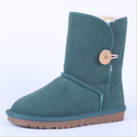"""UGG"" Women Fashion Wool Snow Boots Calfskin Shoes A button Green"