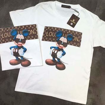 LV Shirt Mickey Top Louis Vuitton Tee Blue Ear LV Glasses Women Men Word Print Tee Shirt Top B-AA-XDD White