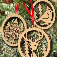 Christmas Tree Wooden 3PCS Hanging Pendants Decoration