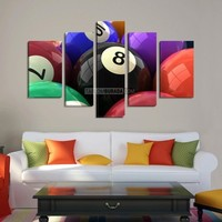 CANVAS ART  - Billiard Ball Canvas Print Ready to Hang  5 Panels - Best Quality Print for Great Home Decorations - MC72