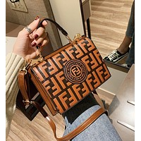 Wearwinds FENDI New Stylish Women Leather Handbag Bag Shoulder Bag Crossbody Satchel Brown