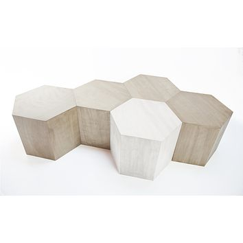 Hexagon Wood Modern Geometric Table- Oak