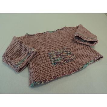 Handcrafted Girls Baby Sweater Pink Bulky Acrylic Wool Mix Female Kids 0-1 -- New No Tags
